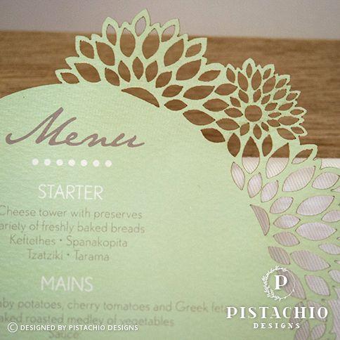 Floral menu by www.pistachiodesigns.co.za