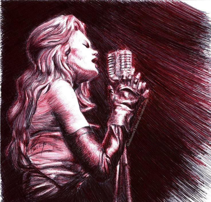 Ellen Aim - Streets of Fire pen drawing by HoshisamaValmor.deviantart.com