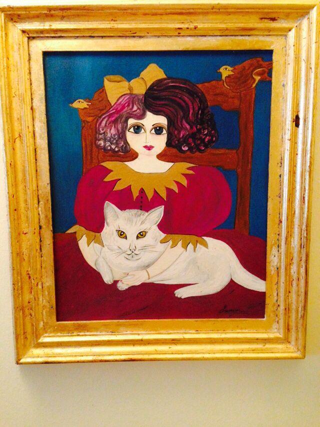 Susana Esteban Ferreiro, óleo la niña del gato.