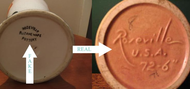 Fake and real #roseville #pottery mark. | Pottery