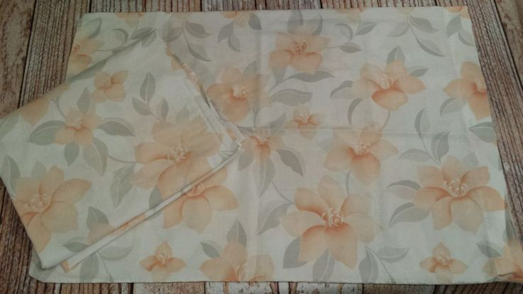 Vtg Tropical Peach Dalily Gray Floral Twin Fitted Sheet & Standard Pillowcase