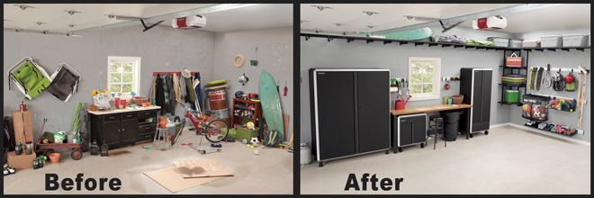 Garage Storage Before And After Workshop Ideas