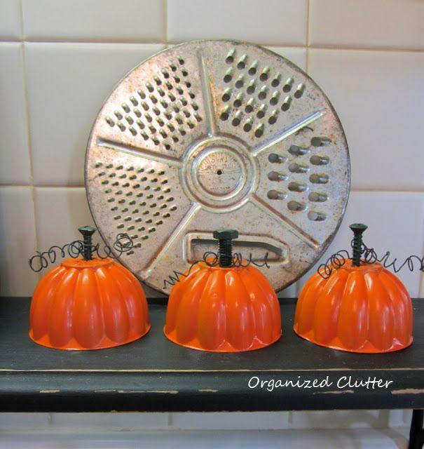 Junk Pumpkin Tutorial -  cute little guys made from old jello molds.