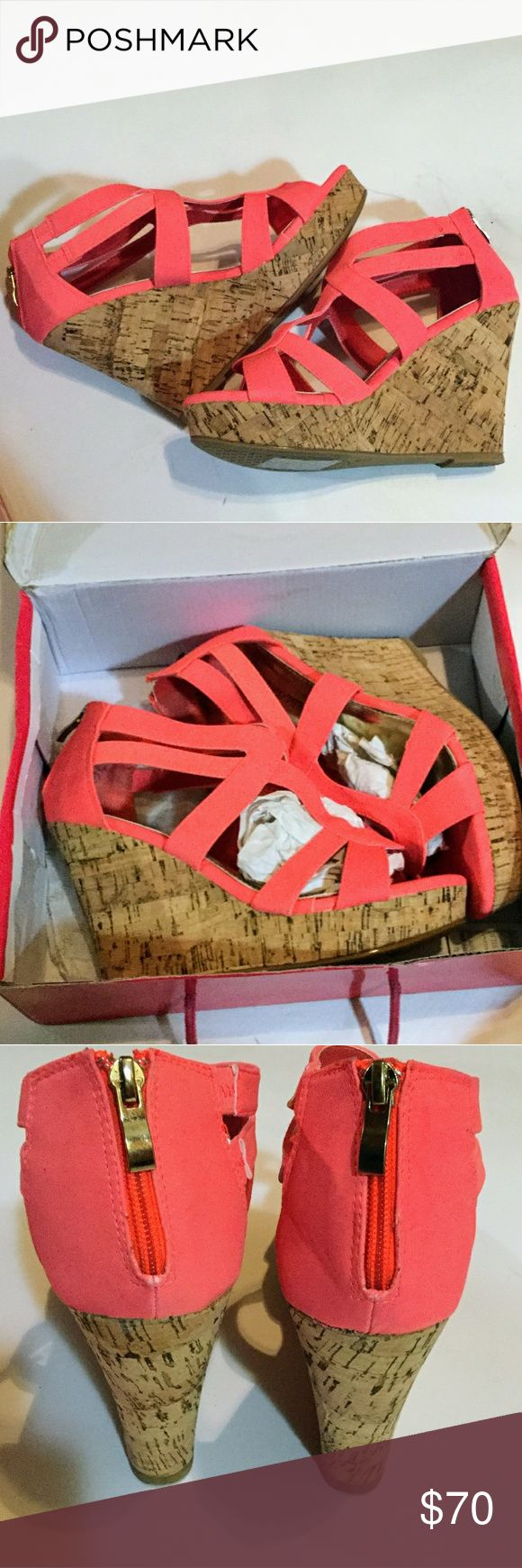 Coral Pink Wedges Size 9 New In Box New , never worn size 9 they are a cute cora…