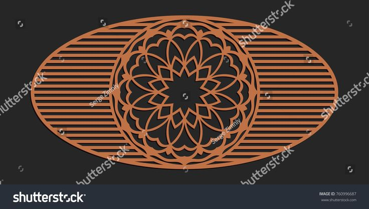 Laser cutting window panel. Jigsaw die cut ornament. Lacy cutout silhouette stencil. Fretwork floral pattern. Vector template for paper cutting, metal and woodcut.