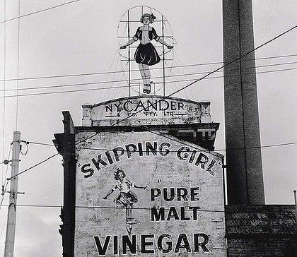 Little Audrey, Skipping Girl Vinegar. Landmark of Melbourne, about to become solar powered. Nice.