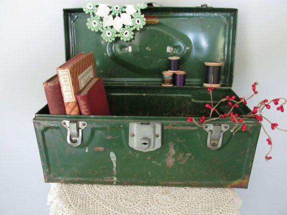 Vintage Metal Tool Box Industrial Chic Display by @KeepsakeDesigns, $9.99