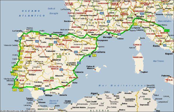 Mappa del viaggio in camper in portogallo