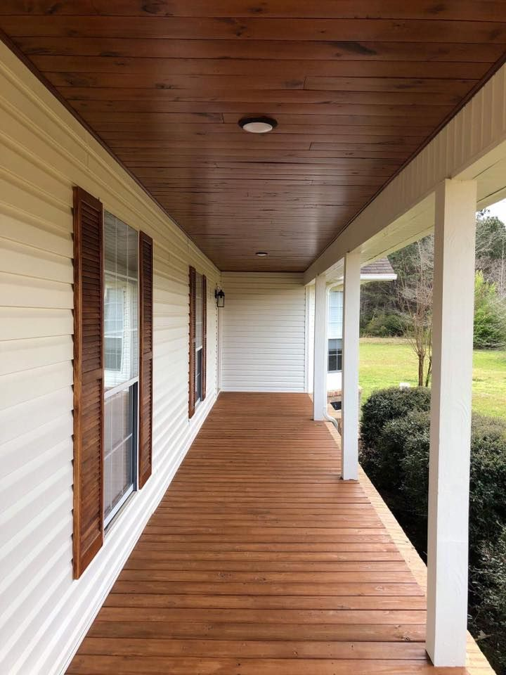 Our Front Porch Makeover Stained Wood Ceiling Shutters Porch Floor Farmhouse Porch Porch Wood Porch Makeover Porch Remodel