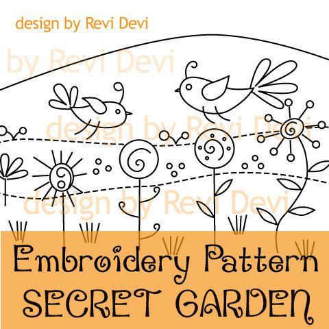 Embroidery Pattern Secret Garden PDF digital download by revidevi