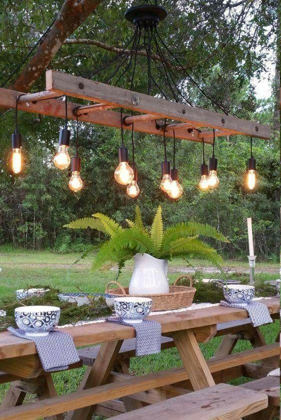 Ladder light above kitchen table for cool outdoor kitchen