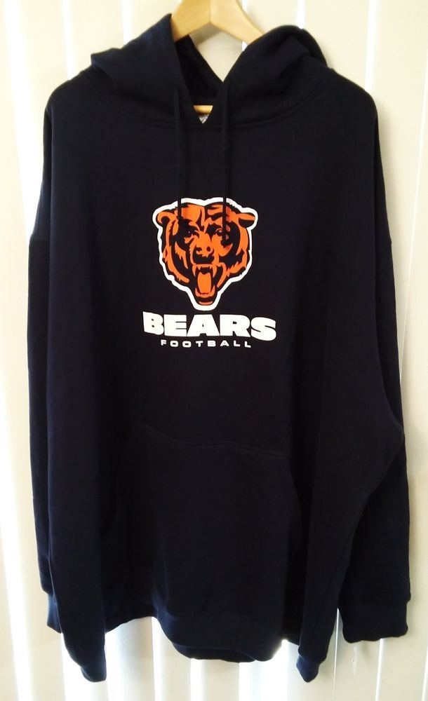 NFL Team Apparel Majestic Chicago Bears Logo Heavyweight Hoodie Mens Size 4XL  #Majestic #ChicagoBears