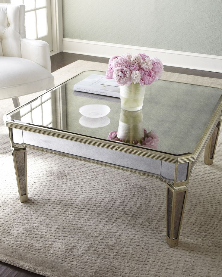 Mirrored furniture living room amelie mirrored coffee table horchow