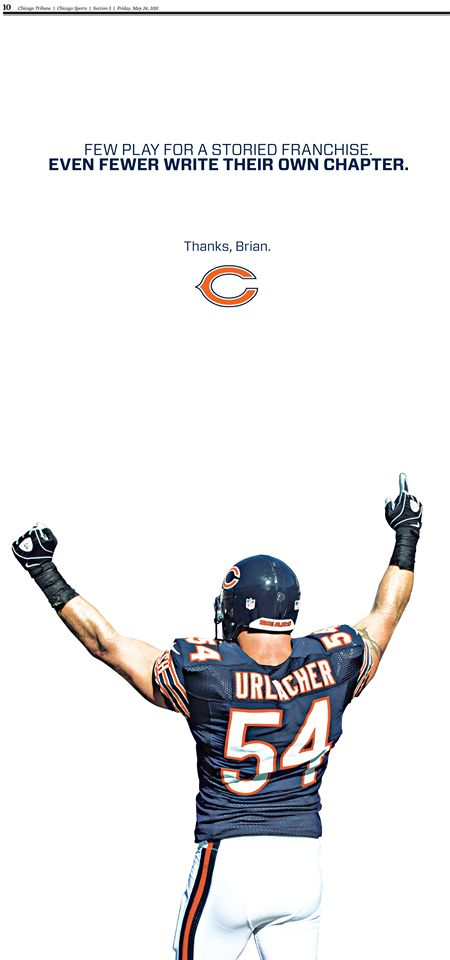 Than you Brian Urlacher for 13 great years...