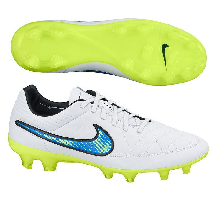Nike Tiempo Legend V FG Soccer Cleats (White/Soar/Volt). Get your new pair of soccer boots today at SoccerCorner.com!