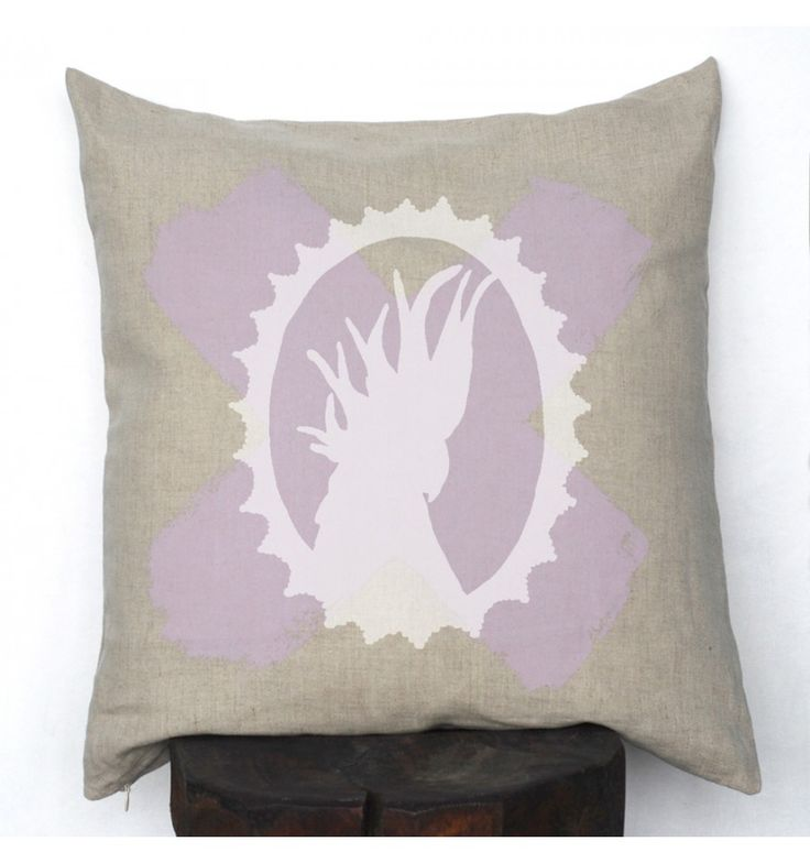 Lilac Cross with White Cockatoo Silhouette Linen Cushion Cover - Miss Molly