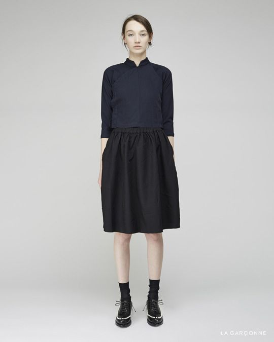 Comme des Garçons SHIRT / Poly Twill Top  Comme des Garçons SHIRT/ Poly Twill Skirt  Maria La Rosa / Mid-Calf Silk Socks Simone Rocha / Pearl Embellished Brogues