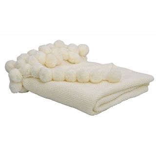 Pom Pom Throw in Ivory / cream throw blanket / instant style update / nursery decor / living room interiors