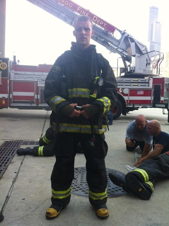Jesse Spencer behind the scenes on the set of 'Chicago Fire' (sporting LION Janesville® Super-Deluxe™  turnout gear) | Shared by LION