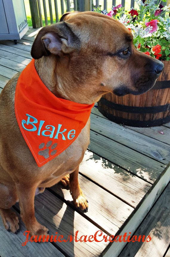 This bandana will be embroidered on your choice of bandana color from the drop down menu.  You will leave the dogs name and your choice of