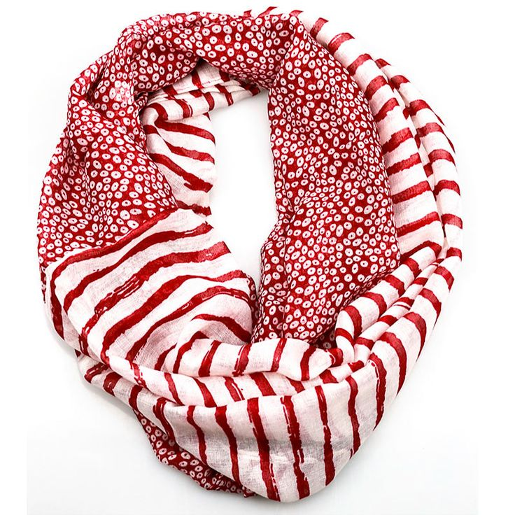 $11.99,Burgundy Stripe Dots Inifinity Scarf, women for her fashion accessoires teen gift idea holiday travel loop circle by URFashionista.com on Etsy