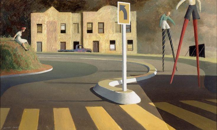 'The Stilt Race' (1960) by Australian artist Jeffrey Smart (1921-2013). Oil on plywood, 56.3 x 91.3 cm. via Art Gallery NSW