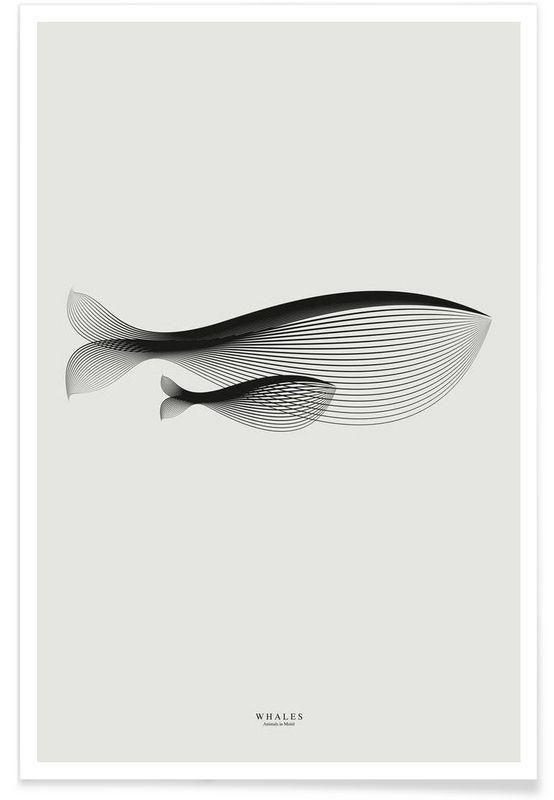 Animals in moiré | Whales en Affiche premium par Andrea Minini | JUNIQE