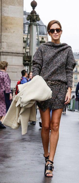 #street #fashion fall tweed dress monochrome gray @wachabuy
