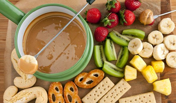 Peanut Butter Fondue. DEFINITELY not healthy, but such a cute idea for entertaining.