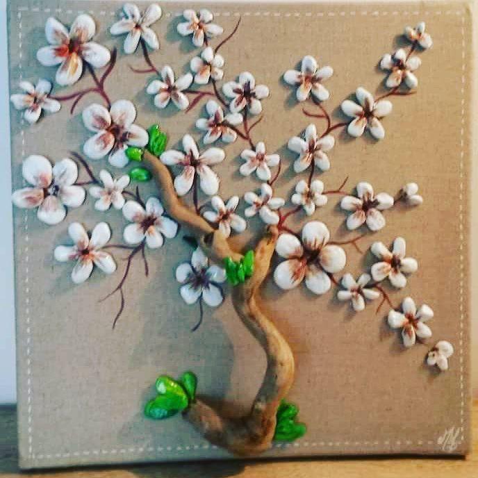 Art#pebbleart#boisflottes#peinture#decoration#mesuivre#fleurs#printemps#followe#decoration#tableau#galets#