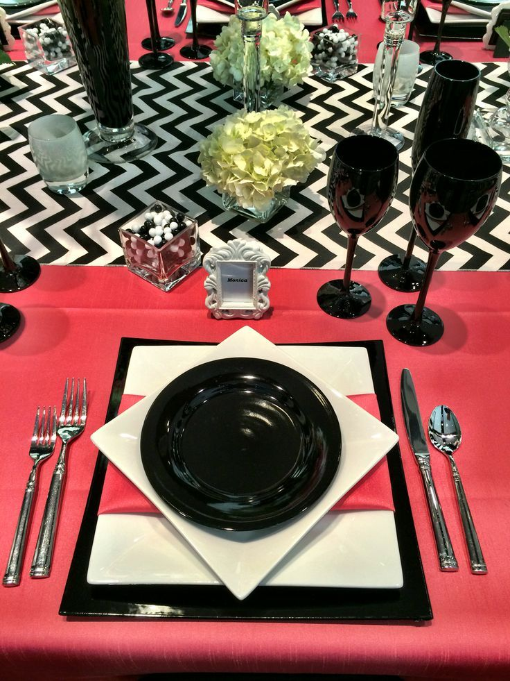 Black & White Chevron with the pops of Peony pink makes for such a fun and bold table design