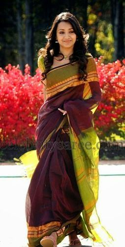 Trisha Krishnan Chanderi Saree   Saree Blouse Patterns