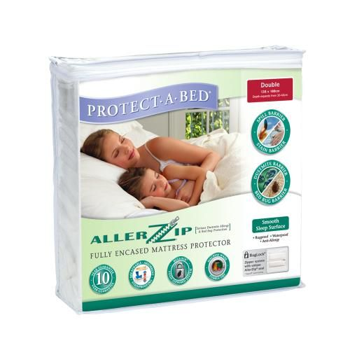 The AllerZip range has a smooth polyester surface. It is ideal for serious dust mite allergies,  accidental spills, perspiration and pets on beds and is waterproof yet breathable.  The  Miracle Membrane provides an allergy barrier and it has an absorbency rate of 300ml on a queen mattress.   Machine washable and tumble dry safe, this product has been tested for harmful substances, with the tick of approval by Oeko-Tex Standard.