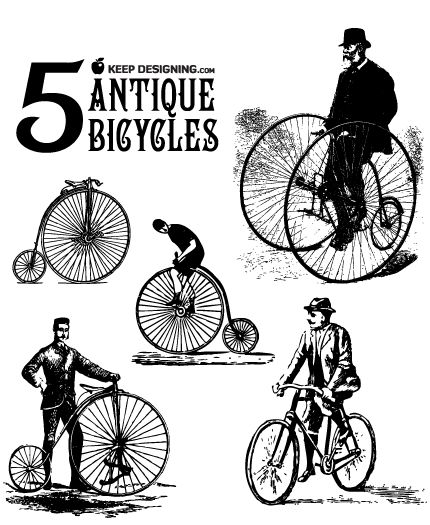 classic antique bikes from a time when riders wore top hats, not helmets.