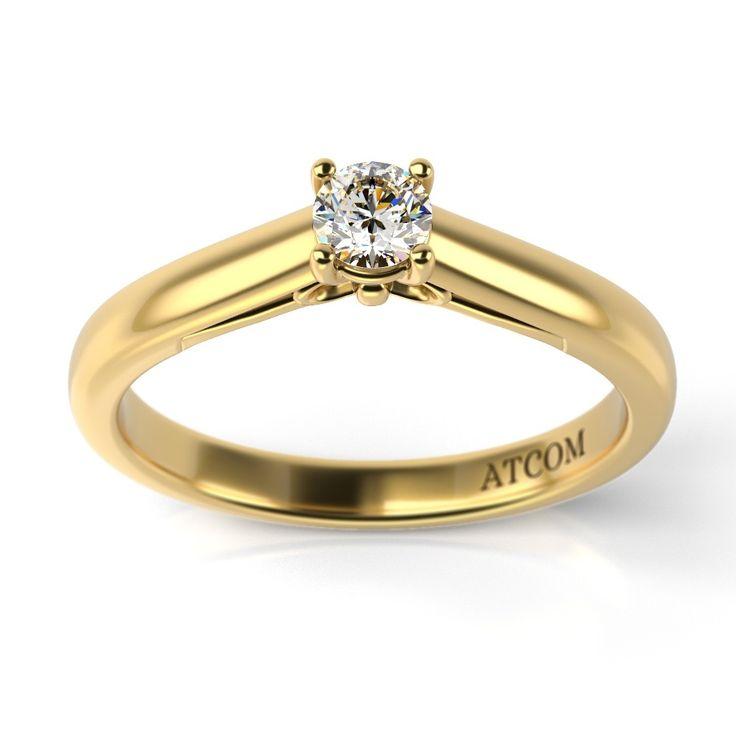 Inel de logodna cu diamant Beckham din aur galben