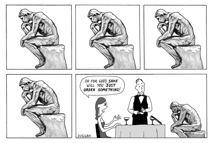The Thinker is so famous - it appears everywhere, even in this cartoon.