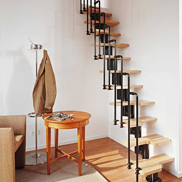 Pipe and wood tread staircase - Designer unknown  #stairs #staircase #steps #wood #pipe #chair #Table #iron #floor #unique #love #inspiration #design #style #love #home #homedecor #diy #remodel #coatrack #interior #interiordesign #luxury #modern #contemporary #instalike #instadaily #insta #instagood #instagram