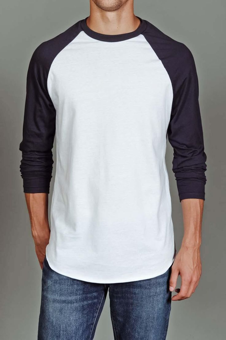 US Blanks Men's Baseball Raglan Tee White/Navy