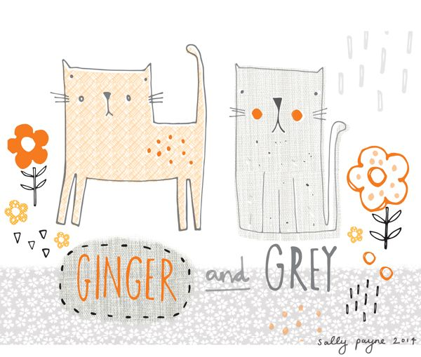 Illustration Cats Gingerandgrey-sallypayne