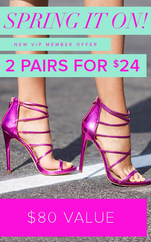 """Spring Styles are In! Get Your First 2 Styles for Only $24! Make sure you're up to date on the hottest trends by signing up as a Shoedazzle VIP. You'll enjoy a new boutique of personalized styles each month, as well as exclusive pricing, early access to sales & free shipping on orders over $39. Don't think you'll need something new every month? No problem! Click """"Skip The Month"""" in your account by the 5th and you won't be charged. Take the Style Quiz today to get this exclusive offer."""