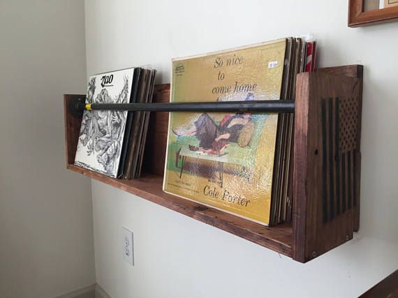 Vinyl Record Wall Holder Shelf Floating With Steel Piping Record Storage Vinyl Storage Diy Vinyl Storage
