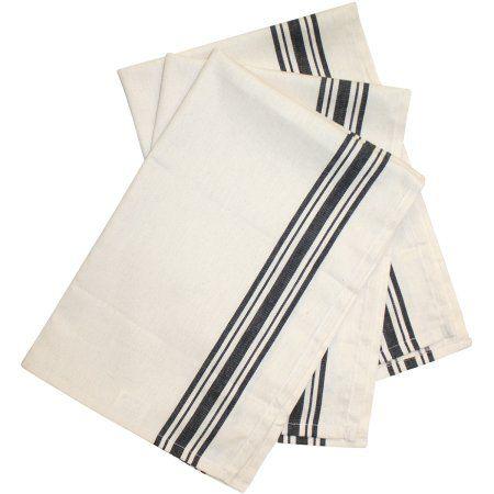 Stitch 'Em Up Retro Stripe Towels 18 inchX28 inch 3/Pkg-Black Stripe, Black
