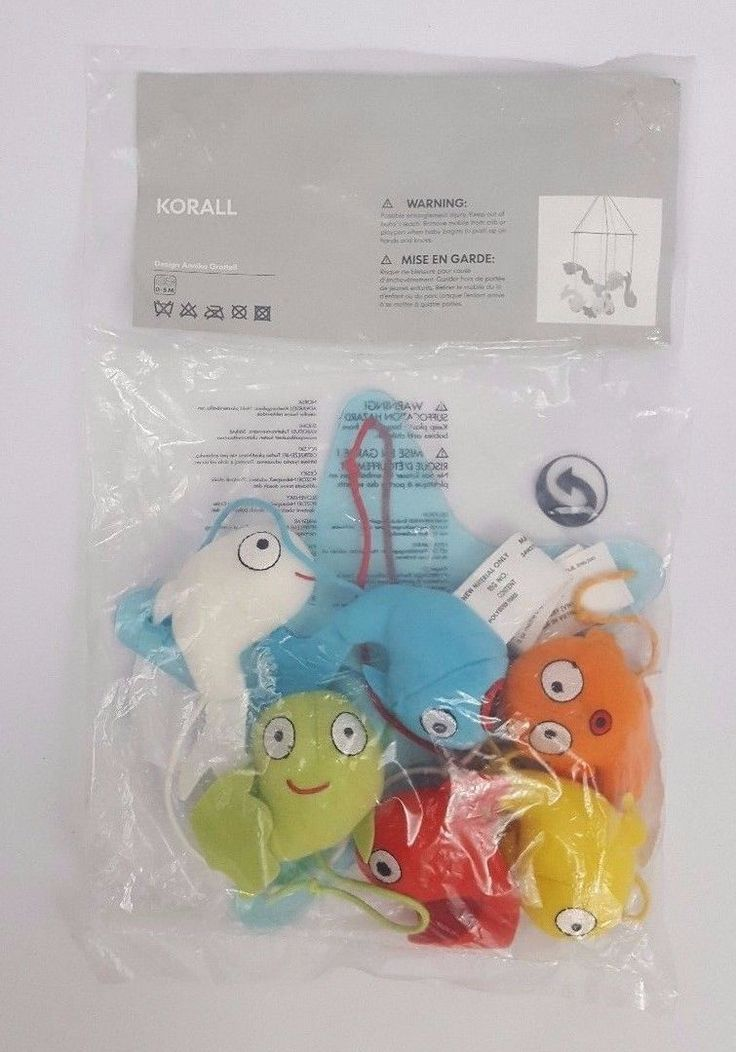 IKEA Korall Baby Crib Mobile Green Blue Red Orange White Fish Ocean Nursery NEW
