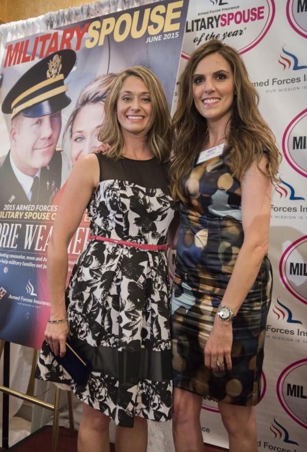 """IMAGE DISTRIBUTED FOR 2015 ARMED FORCES INSURANCE MILITARY SPOUSE OF THE YEAR ® - The 2015 Armed Forces Insurance Military Spouse of the Year Award® winner Corie Weathers, left, and Taya Kyle, winner of the Military Spouse magazine Gabby Giffords Award for Courage and Bravery, pose for a photo during the 2015 Armed Forces Insurance Military Spouse of the Year Awards luncheon at the Fort Myer Officers' Club on Friday, May 8, 2015 at Fort Myer, Va. Kyle, author of """"American Wife,"""" is the widow…"""