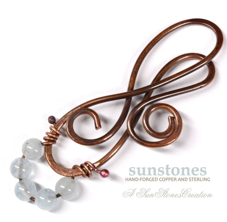 Hand Forged Copper and Wire Wrapped Aquamarine Pendant Component PN420 by SunStones on Etsy