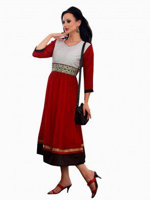 Maroon Georgette Anarkali Kurti With Embroidery Work