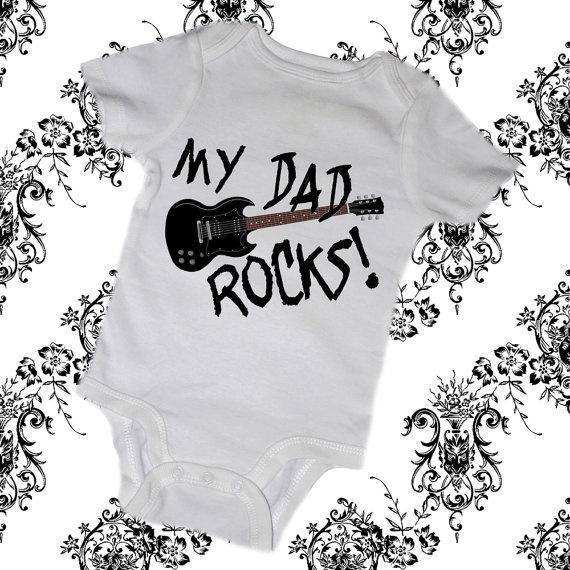 MY DAD ROCKS Baby Bodysuits Tees Infant Newborn by MyLucysLoft2, $14.00