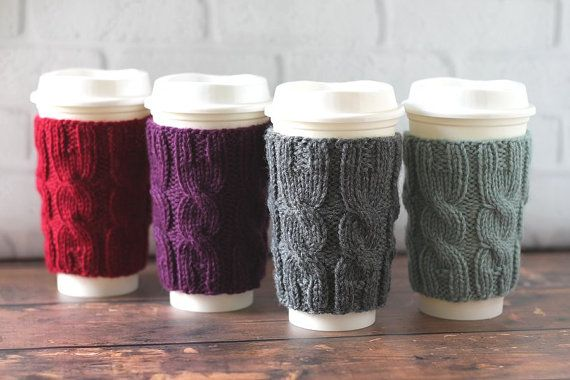 Caffè accogliente, maglia manica caffè, cablati maglia accogliente caffè, tazza di caffè Cozy, Stuffer calza, riutilizzabile accogliente caffè, regalo festa della mamma