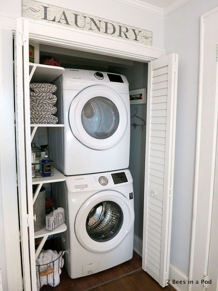 I propose expanding the utility closet in the bedroom and include a stacked washer/dryer next to the hot water heater.