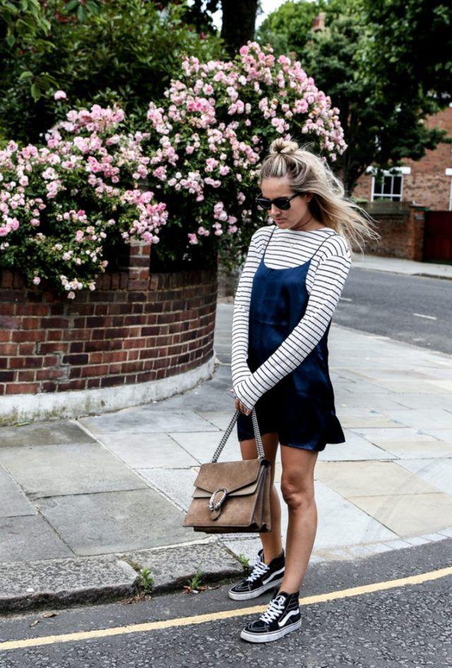 stripes-slip dress-slipdress-tshirt shirt under slipdress-sneakers and dresses-